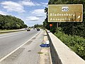 2019-09-08 13 54 30 View south along Maryland State Route 295 (Baltimore-Washington Parkway) at the exit for Maryland State Route 450 (Bladensburg, Annapolis) in Landover, Prince George's County, Maryland.jpg