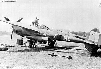 RAF Kings Cliffe - Lockheed P-38J Lightning of the 79th Fighter Squadron.