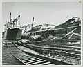 3-64. Whittier - Ships at docks. RR tracks in water (25485987880).jpg