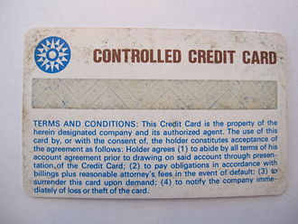 Magnetic stripe card - Back side of the first magnetic stripe plastic credit card