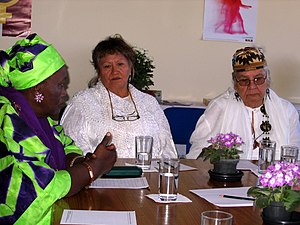 Grandmothers Bernadette, Margaret & Agnes during a conference