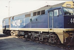 New South Wales 442 class locomotive - 44240 at Broadmeadow Locomotive Depot in 1990
