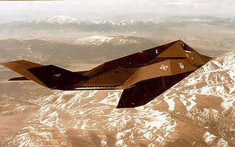 416th Fighter Squadron - Lockheed F-117A Nighthawk - 81-10798 flying over the Sierra Mountains.