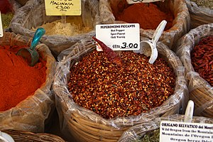 Peperoncino - Crushed peperoncini sold at a market in Syracuse, Sicily