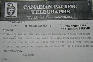 Thomas Farquhar - A September 1948 telegraph from Canadian Press, reporting on Farquhar's appointment to the Senate.