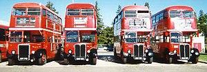 Unitrans - Ex London AEC Regent III RT buses parked at the Unitrans garage.