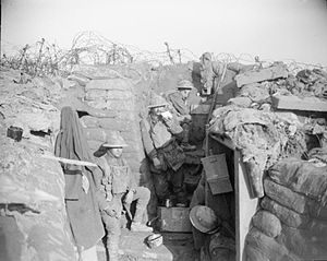 East Lancashire Regiment - Members of the 4th Battalion, East Lancashire Regiment in trenches near Givenchy on 28 June 1918