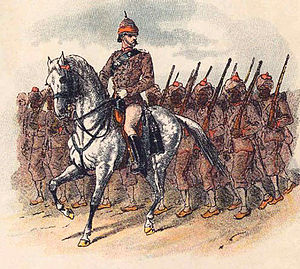59th Scinde Rifles (Frontier Force) - 6th Regiment of Punjab Infantry, Punjab Frontier Force.  Coloured lithograph by Richard Simkin, 1886.