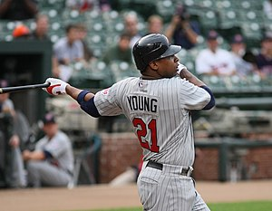 Delmon Young - Young batting for the Minnesota Twins in 2008