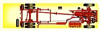 Rear-entrance AEC Bridgemaster chassis layout.[7]