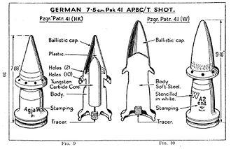 Squeeze bore -  An example of Armor Piercing, Composite, Non-Rigid (APCNR) shells used in squeeze bore guns (7.5 cm Pak 41)