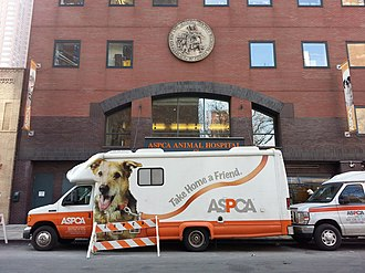 American Society for the Prevention of Cruelty to Animals - APSCA truck in front of the headquarters.