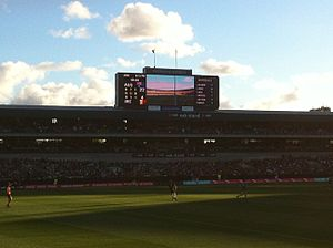 2014 International Rules Series - Scoreboard at Quarter time