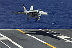 A U.S. Navy F-A-18E Super Hornet aircraft assigned to Strike Fighter Squadron (VFA) 195 makes its final approach for an arrested landing aboard the aircraft carrier USS George Washington (CVN 73) during an 130820-N-TP877-044.jpg