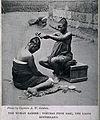 A Yoruba female hairdresser dressing the hair of a woman. Ha Wellcome V0019814.jpg
