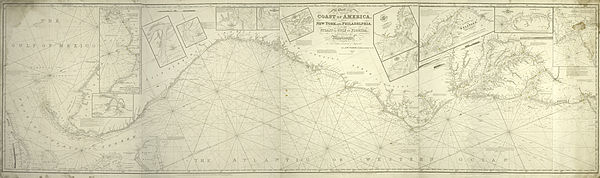 A chart of the coast of America - from New York and Philadelphia to the Strait or Gulf of Florida, and from thence to the Mississippi - a new edition corrected and improved by J.W. Norie, NYPL434117.jpg