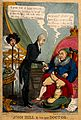 A gouty patient having his pulse taken by a doctor; satirizi Wellcome V0011341.jpg