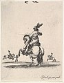 A horseman atop a rearing horse, seen from behind and turned towards the left, two horsemen in the background, from 'Various cavalry exercises' (Diverses exercices de cavalerie) MET DP833145.jpg