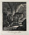 A lion walking down the steps in a cave. Etching by J. E. Ri Wellcome V0021048EL.jpg