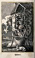 A woman sits spinning at a spinning wheel. Wood engraving. Wellcome V0039778.jpg