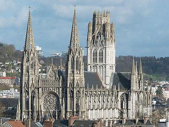 Church of St. Ouen, Rouen - Image: Abbaye Saint Ouen de Rouen as seen from Gros Horloge 140215 3