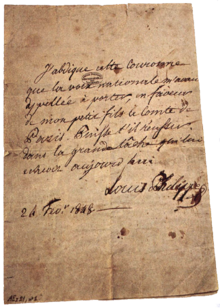 Acte d'abdication de Louis-Philippe