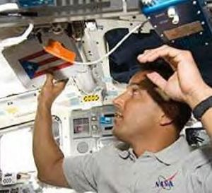Joseph M. Acaba - Acaba with a Puerto Rican Flag aboard STS-119