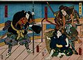 Actors on a bridge at night; two heavily armed warriors (Yor Wellcome V0047249.jpg