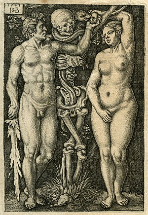Sebald Beham - Adam and Eve, 1543, 82 x 56 mm.