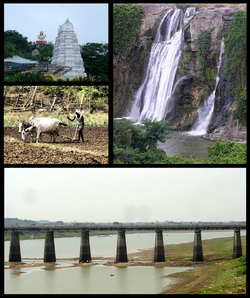 Adilabad District Montage Clockwise from Top Left: Basar Saraswati Temple View, Kuntala waterfalls, Bridge on River Godavari at Basar, Farming at Nirmal