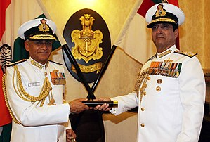 Sunil Lanba - Admiral RK Dhowan, the outgoing CNS handovers the traditional telescope of the CNS to Admiral Lanba as he takes charge as the chief at Naval Headquarters, New Delhi on May 31, 2016