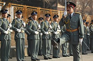 Law enforcement in Afghanistan - Afghan National Police (ANP) commander marching to greet distinguished visitors at the Afghan National Police Academy (ANPA) in 2010.