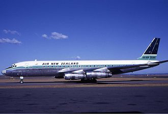 Air New Zealand - A Douglas DC-8 at Sydney Airport in the early 1970s. Air New Zealand was an early operator of the DC-8. Note the pre-1973 livery with the Southern Cross on the tail.