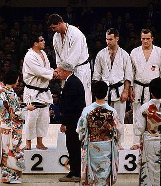Judo at the 1964 Summer Olympics – Men's open category - Left to right: Akio Kaminaga, Anton Geesink, Ted Boronovskis and Klaus Glahn