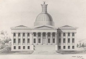 Alabama State Capitol - The first Montgomery capitol building, destroyed by fire in 1849.