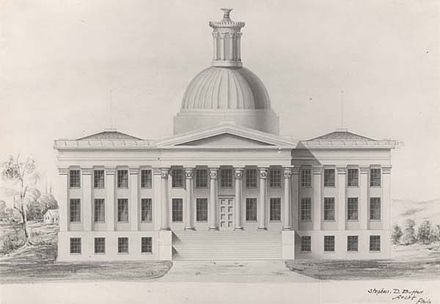 The first Montgomery capitol building, destroyed by fire in 1849. Alabama Capitol original plan.jpg