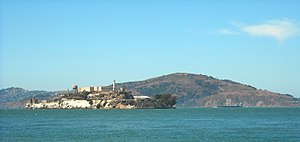 June 1962 Alcatraz escape - Alcatraz, with Angel Island (the fugitives' intended destination) in background