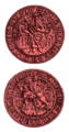 Seal of King Yuri II Boleslav denoting a horseman with lion on the coat of arms (14th century)