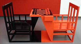 Chess table - Image: Alexandr rodchenko, scacchi da dopolavoro, progettaz. 1925, ricostruito nel 2007, 01