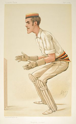"Alfred Lyttelton - Caricature of Lyttelton keeping wicket in I Zingari colours, by ""Ape"" (Carlo Pellegrini) in Vanity Fair, 1884"