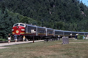 Algoma Central Railway - Algoma Central Railway's popular tour train stopped in the Agawa Canyon park