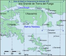 Localización de esta bahía en el canal del Beagle