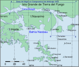 Beagle Channel Arbitration - The Hammer ABCDEF. 1978 Argentina claimed also territories east of the Cape Horn.