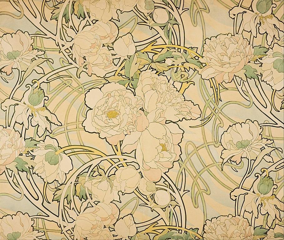"""Magnifique """"Pivoines"""" d'Alfons Mucha à la National Gallery d'Edimbourg."""