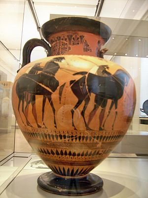 Acamas (son of Theseus) -  Acamas and Demophon on a Neck Amphora by Exekias