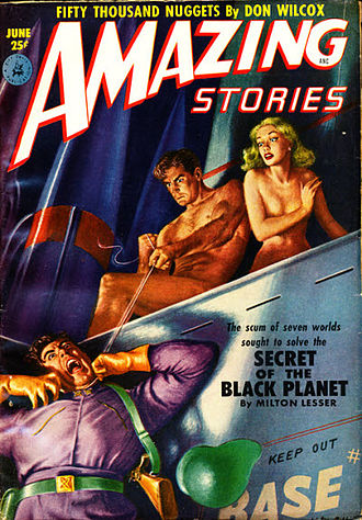 "Stephen Marlowe - Lesser's short novel ""Secret of the Black Planet"" was the cover story in the June 1952 issue of Amazing Stories"