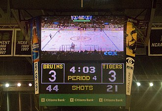 Scoreboard for a hockey game during the fourth period. If a game is tied at the end of the third period, several leagues and tournaments have teams play additional sudden death overtime periods. American Hockey League ERI 5695 (5528600480).jpg