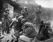American mortar crew in action near the Rhine, 1945