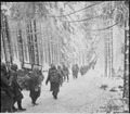 American soldiers of the 289th Infantry Regiment march along the snow-covered road on their way to cut off the Saint... - NARA - 531244.tif