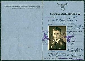 Amtsdokument Paul Fischer 1941 Oberstleutnant Luftwaffen-Beobachterschein Land Nr. 2 Seite 1 und 4 Lager-Nr. 500 Verlag und Druck Heß Braunschweig-München.jpg